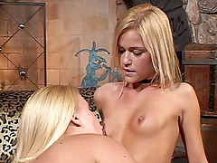 Blonde lesbians Heidi Mayne and McKenzee Miles take turns cramming their holes with a dildo