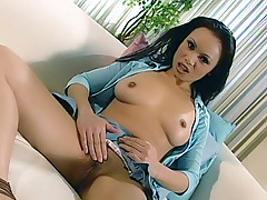 Naughty Asian Mya Luanna pulls up her tiny skirt to show off her muff and gets it licked and dicked