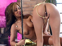 Lesbian strippers August Night and Alexis Love taking a break by pleasuring their pussies with a dildo