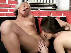 Hot lesbo babes India and Marina Maywood examining their dripping wet cunts with a dildo