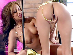 Lesbian strippers August Night and Alexis Love showing off their hot bodies and cram their muff with a dildo