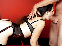 Hot chick Lena Ramon gets her mouth filled with cock and ends up creamed