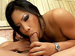 Hot asian Christina Aguchi gets her tits creamed after a hot deepthroating fuck
