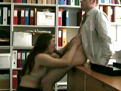 Hidden cam set up by the boss to film secretary gobbling knob