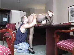 Hot blonde MILF gets bent over and fucked on bar