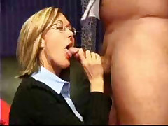 Blonde secretary babe gets a thick and gooey facial