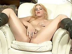 Shemale gets her tight ass fucked on a chair