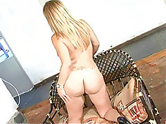 Red hot blonde tranny slut smokes pole