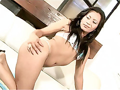 Sexy shemale strokes her own cock while getting fucked