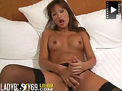 Hot Asian ladyboy rubs cock until he shoots a load