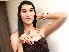 Tall slim ladyboy caught wanking her dick