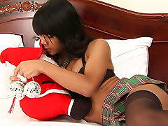 Ladyboy Cartun in Christmas nylons servicing Santa