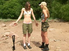 Nude training of a skinny army girl