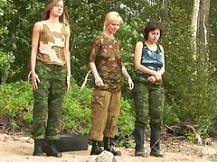 Outdoor lesbian army training of three girls