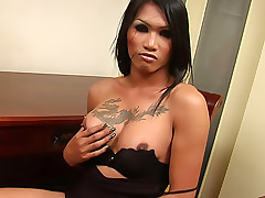 Well hung tgirl Mena tugging at her big meaty rod